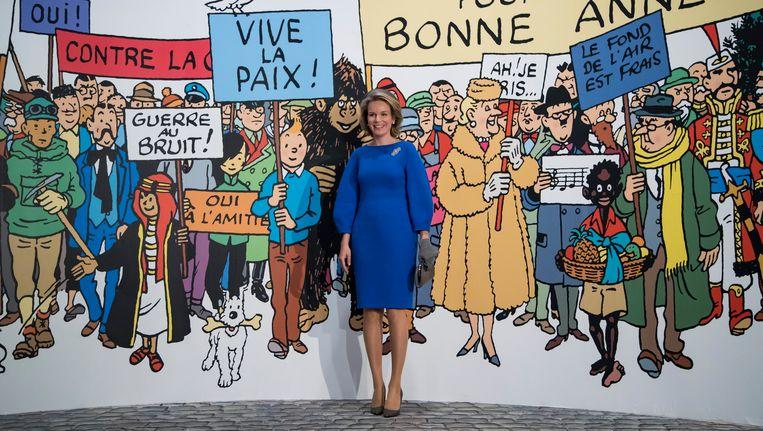 De Belgische koningin Mathilde bij de Hergé-expositie in Parijs. Beeld epa