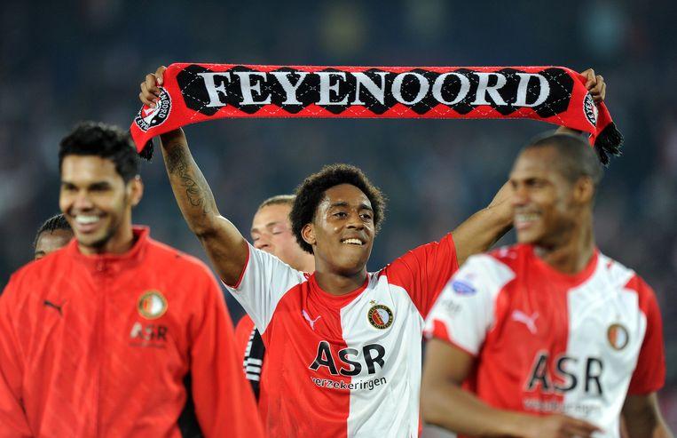 Leroy Fer (midden) toen hij nog bij Feyenoord speelde. Beeld anp