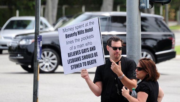 Protest bij een hotel in eigendom van de sultan van Brunei.