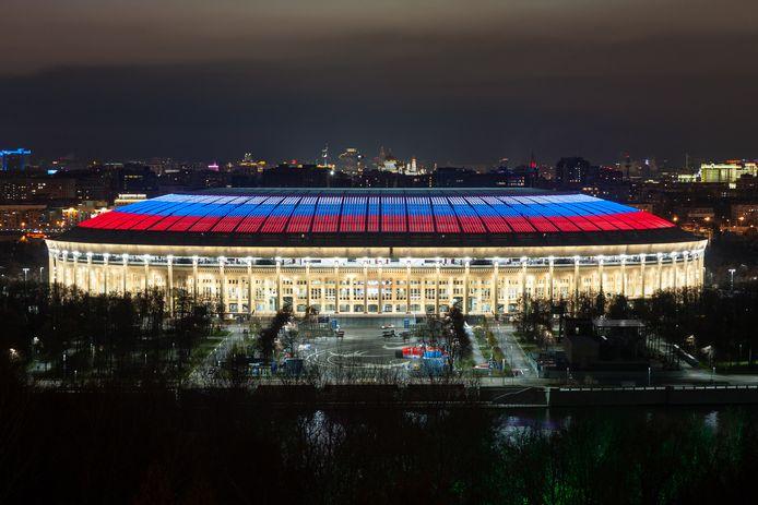 Het mediadak van het stadion in Moskou.