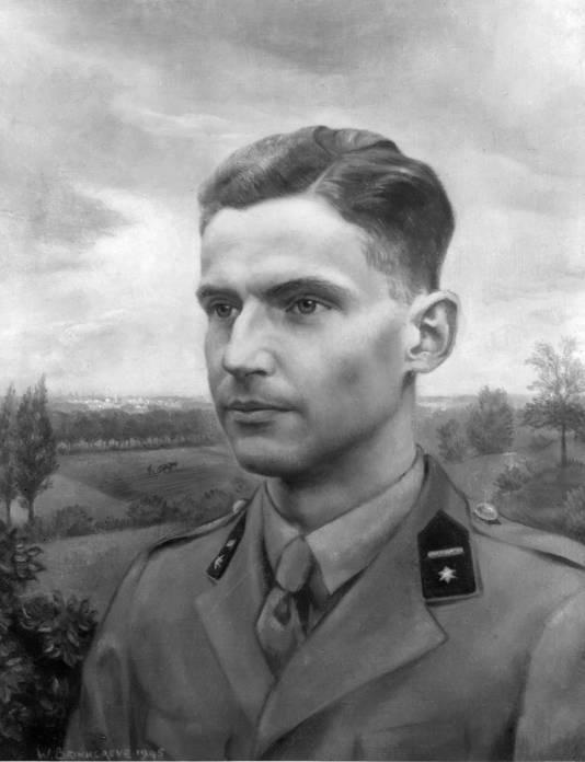 De Utrechtenaar Henk Brinkgreve, in het najaar van 1944 en begin 1945 een van de leiders van het Twentse verzet, op een schilderij dat na de oorlog werd gemaakt.