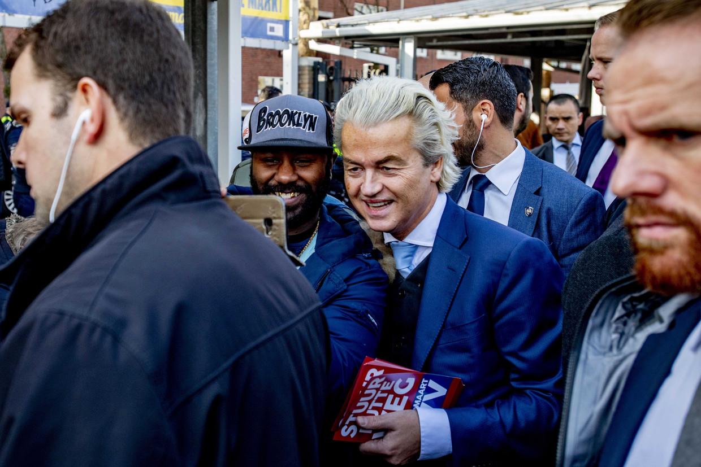 PVV-leider Geert Wilders, zaterdag 16 februari bij de aftrap van zijn verkiezingscampagne in Den Haag. Beeld EPA