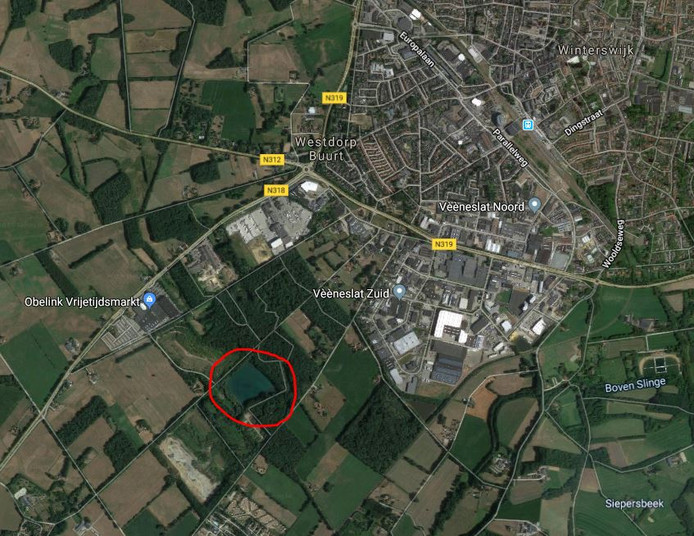 De kleiput (in de rode cirkel) bij Winterswijk
