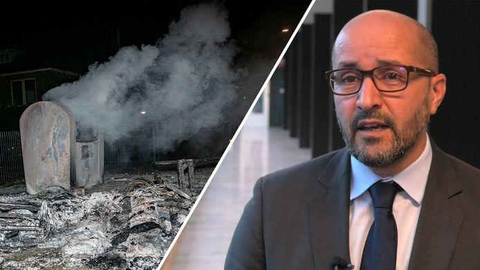 De rokende puinhoop die is achtergebleven in de Arnhemse wijk Geitenkamp na rellen (links) en Arnhems burgemeester Ahmed Marcouch (rechts) geeft commentaar.