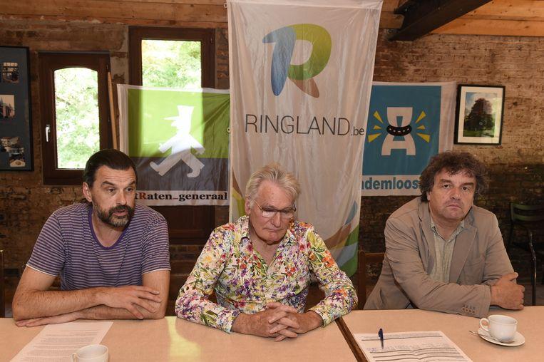 Vlnr.: Manu Claeys (stRaten-Generaal), Wim Van Hees (Ademloos) en Peter Vermeulen (Ringland).