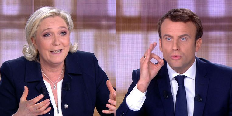 De agressieve Le Pen tegenover de rationele technocraat Macron. Beeld afp