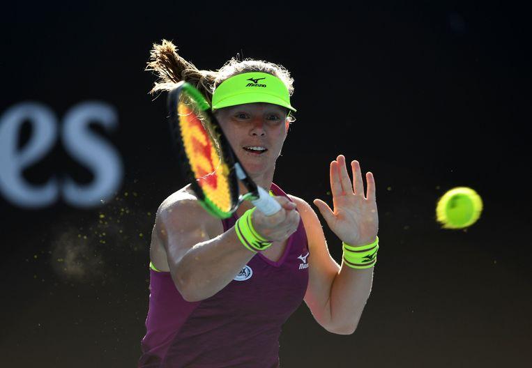 Kiki Bertens speelt terug op Nicole Gibbs tijdens het Australian Open.   Beeld AFP