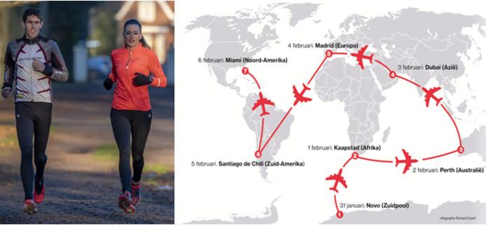 Arno en Meriem van Triest lopen in 7 dagen, 7 marathons op 7 continenten.