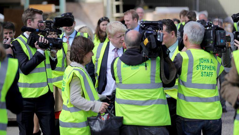 Ex-burgemeester van Londen Boris Johnson, nu leider van het Leave-kamp, op campagne.