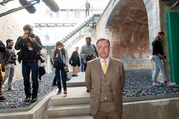 Burgemeester Bart De Wever bij de opening van de tunnel woensdag 20 mei.