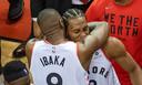 Vreugde bij de spelers van Toronto Raptors na het bereiken van de finale in de Eastern Conference van de NBA.