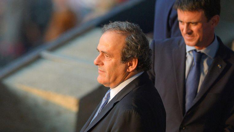 Premier Manuel Valls, hevig supporter van Barça, tijdens de Champions League-finale in Berlijn. Hij verklaarde uitgenodigd te zijn door UEFA-voorzitter Michel Platini.
