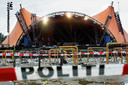 De trieste aanblik van het concertterrein in Roskilde, waar acht mensen het leven lieten tijdens een concert van Pearl Jam.