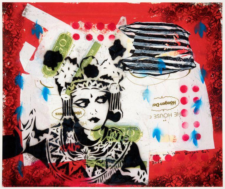 Een kunstwerk van Made Bayak, te zien in de expositie Bali - Behind the scenes. Beeld Tropenmuseum