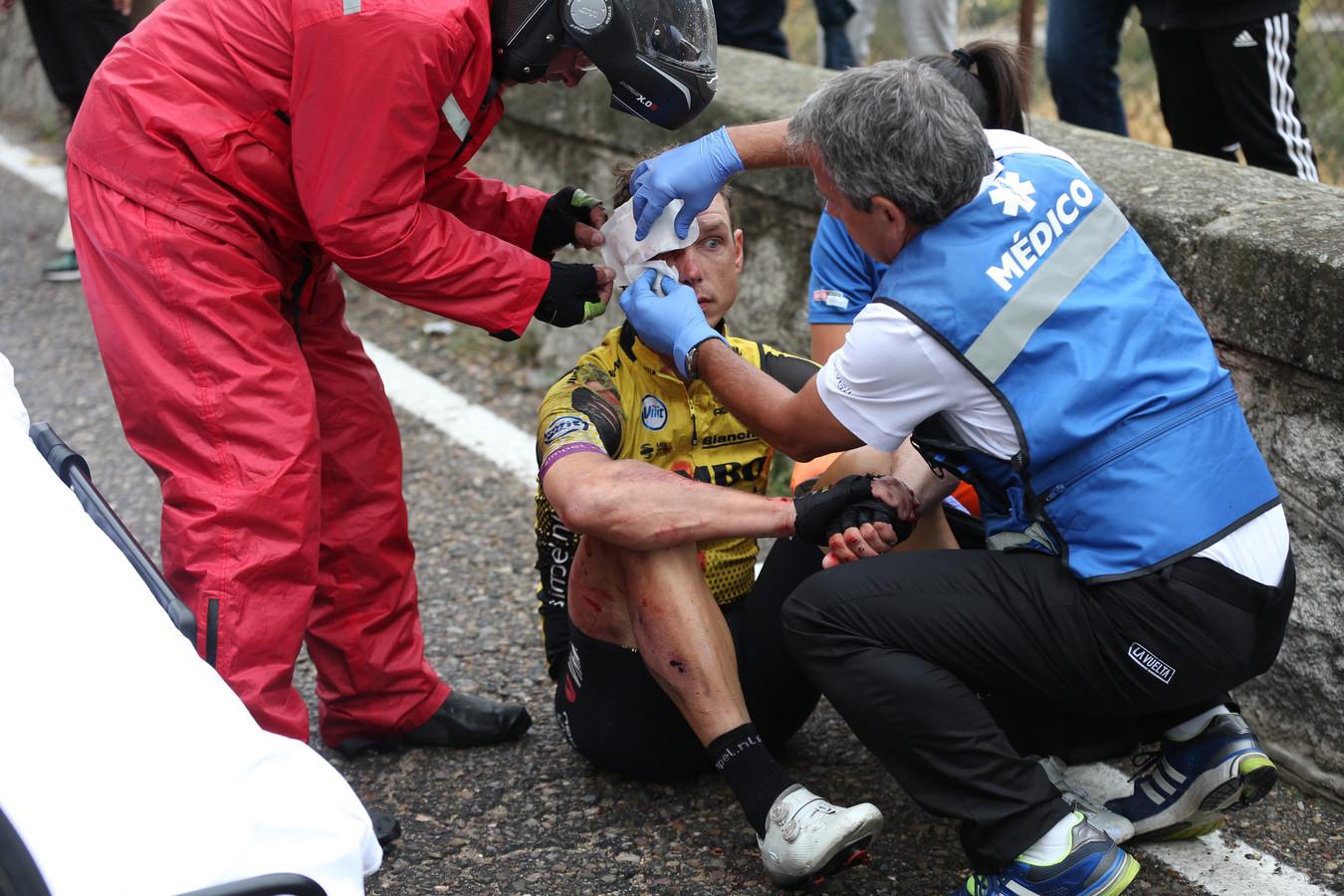 Tony Martin na zijn valpartij in de Vuelta.