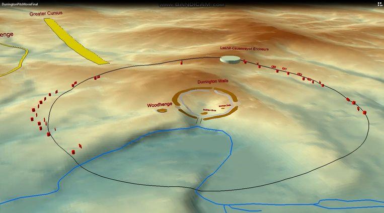 Rondom Stonehenge is een cirkel van schachten ontdekt. Op deze tekening is te zien hoe precies de bouwers 4500 jaar geleden te werk zijn gegaan. Beeld  University Of Bradford via REUTERS