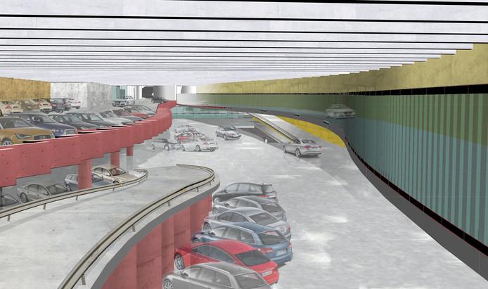 Zo zal het eruitzien als alles klaar is. Rechts zie je de voorbij rijdende wagens die zich richting het noorden van de stad begeven. Links komt de parking. De rode kanten verwijzen speels naar de rode zitjes in de opera.