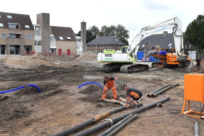Werk op het Hoogkoorplein in Boxmeer.