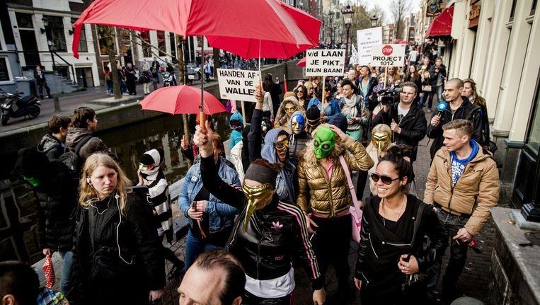 In september protesteerden de sekswerkers tegen sluiting van de ramen Beeld anp