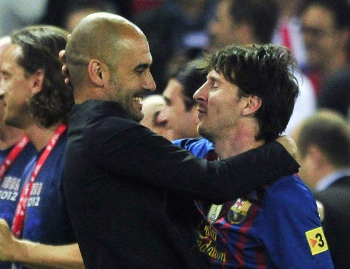 Messi en Guardiola in 2012.