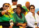 Nkosazana Dlamini-Zuma (midden), de ex-vrouw van Jacob Zuma.