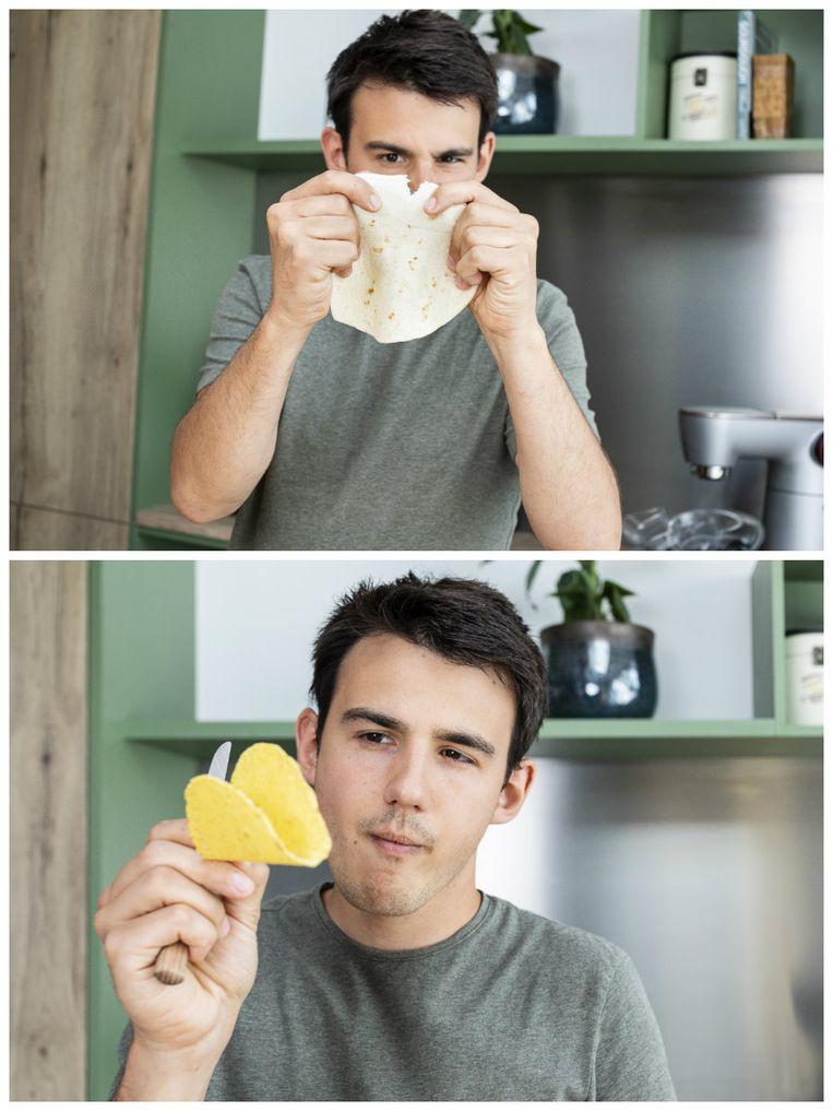 """Loïc: """"Een taco eet je altijd met je handen! Je plooit 'm tot een schelp in je hand en zet je tanden erin. Een taco oprollen is echt not done"""""""