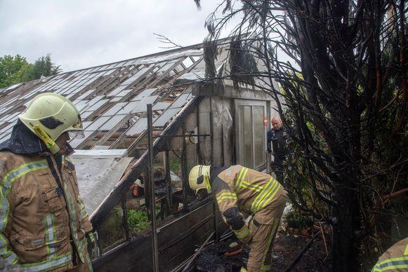 Een serre en enkele sparren vatten vuur in de Schoorstraat in Ten-Ede.