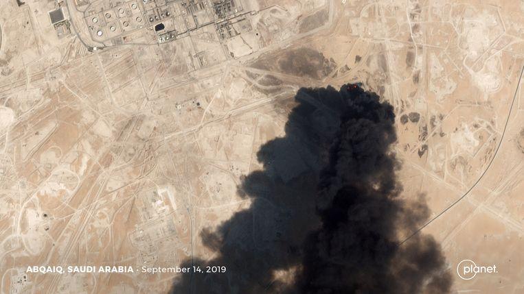 Een satellietbeeld van de aanval.