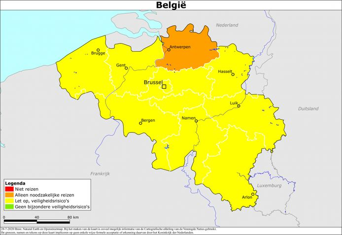 De kaart van België, met in het oranje de provincie Antwerpen. Die grenst voor een groot deel aan Brabant.