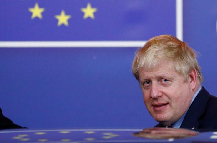 De Engelse premier Boris Johnson op bezoek bij de EU in Brussel.