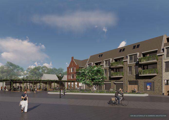 Centrumplan-oost in Rijen. Eindelijk wordt het Wilhelminaplein een volwaardig dorpsplein met woningen, supermarkt, horeca en winkels aan beide zijden van de Hoofdstraat.