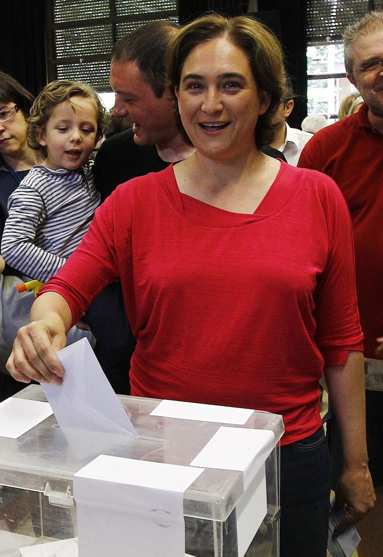Ada Colau, burgemeester van Barcelona namens burgerplatform Barcelona en Comú. Beeld AFP
