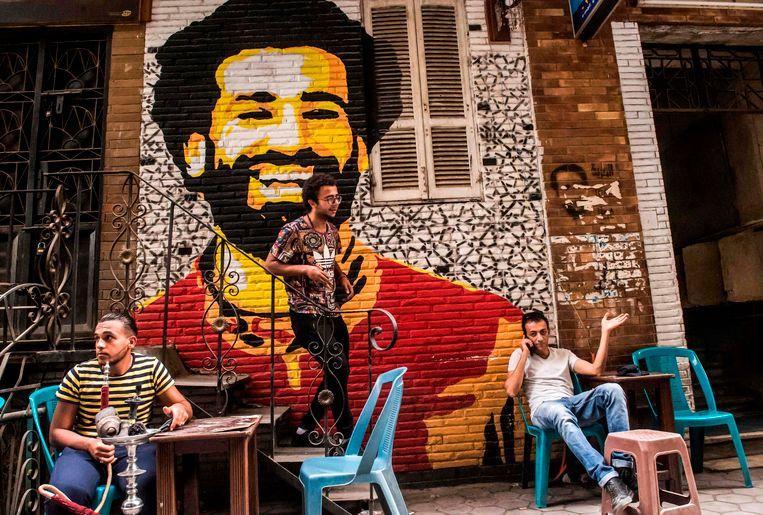 Mohamed Salah als muurschildering in Caïro.