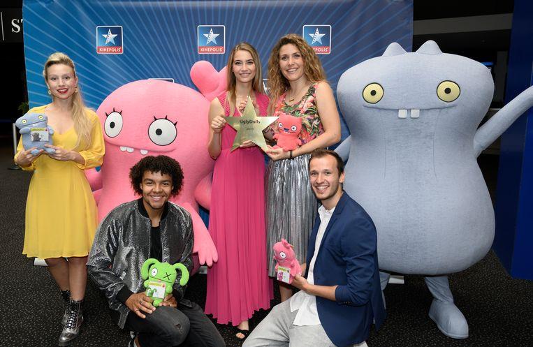 Een deel van de stemmencast van 'UglyDolls' met Céline Verbeeck, Elindo Avastia, Tinne Oltmans, Maureen Vanherberghen en Michiel De Meyer.