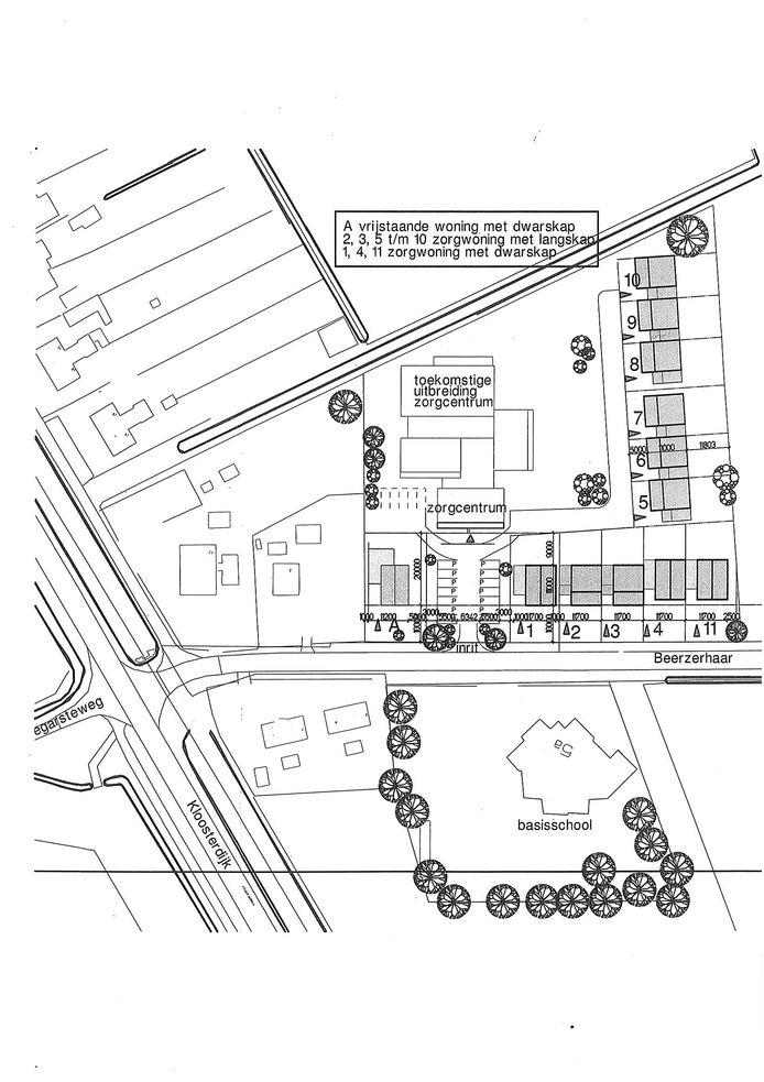 Plattegrond van het zorgconcept voor elf zorgwoningen met vrijstaande woning, zorgcentrum annex ontmoetingsruimte.
