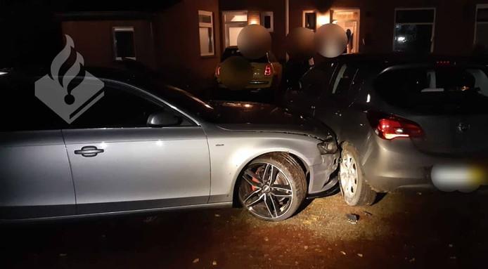 De auto van de beschonken automobilist.