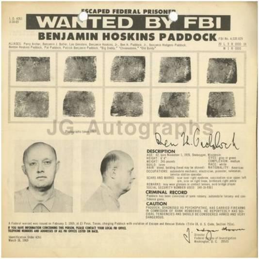 Op een FBI-affiche uit 1969 is Benjamin inderdaad te zien.