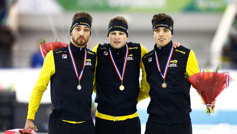 Kjeld Nuis, Sven Kramer en Patrick Roest. Beeld anp