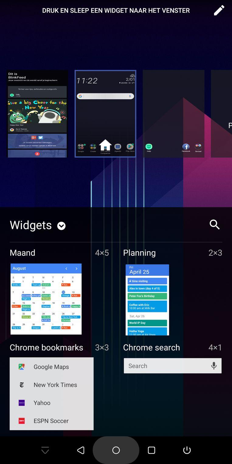 Widgets voegen informatie toe aan je homescherm(en).