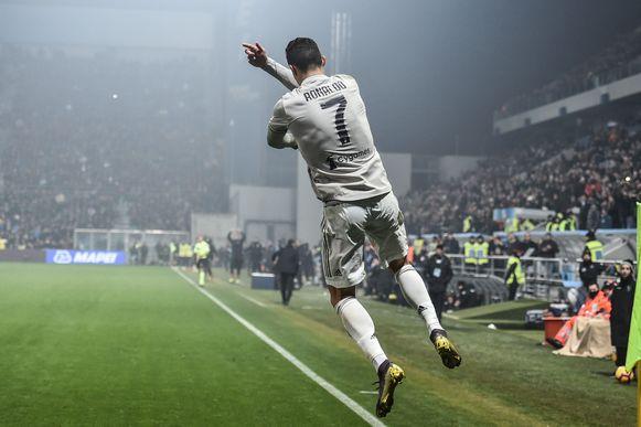Cristiano Ronaldo aan het feest in Sassuolo.