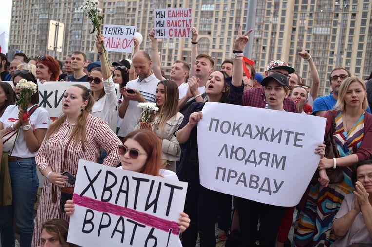 Een demonstratie in Minsk, op zaterdag 15 augustus. Beeld Hollandse Hoogte / AFP