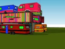 Kunstenaar bouwt toren van caravans op Berlijnplein