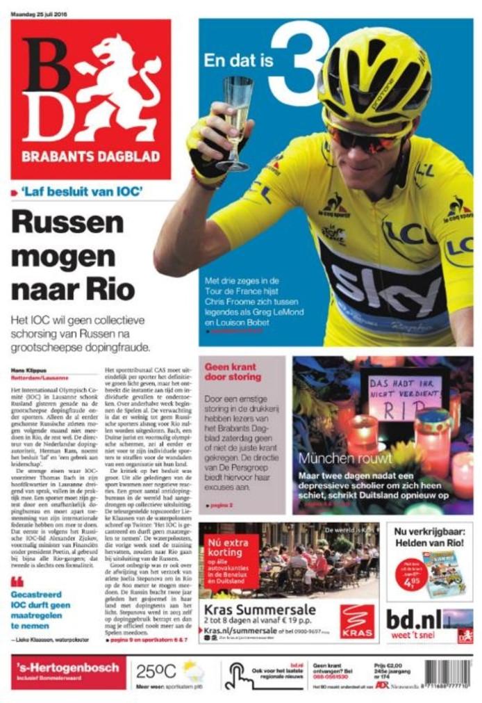 Het Brabants Dagblad van maandag 25 juli.
