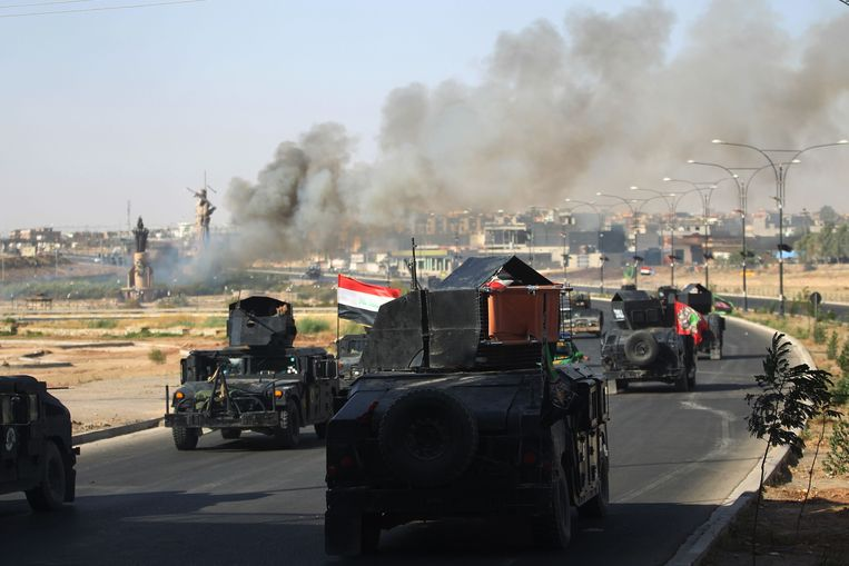 Twee jaar geleden werd nog gestreden om de stad door Iraakse militairen en Koerdische onafhankelijkheidsstrijders (archiefbeeld).