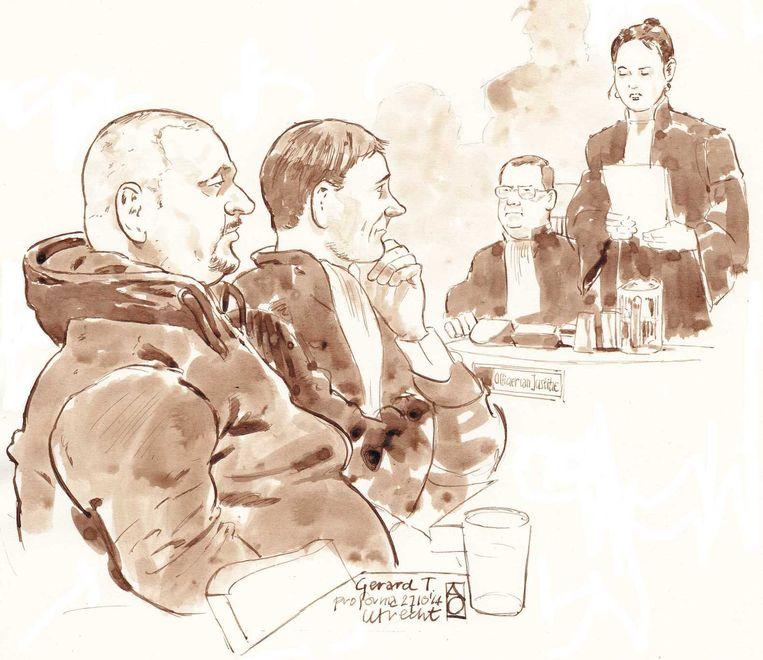 Rechtbanktekening van (vlnr) Gerard T., diens advocaat Maarten Krikke en de Officieren van Justitie Daphne van der Zwan en Michael van Leent in de rechtbank van Utrecht Beeld anp
