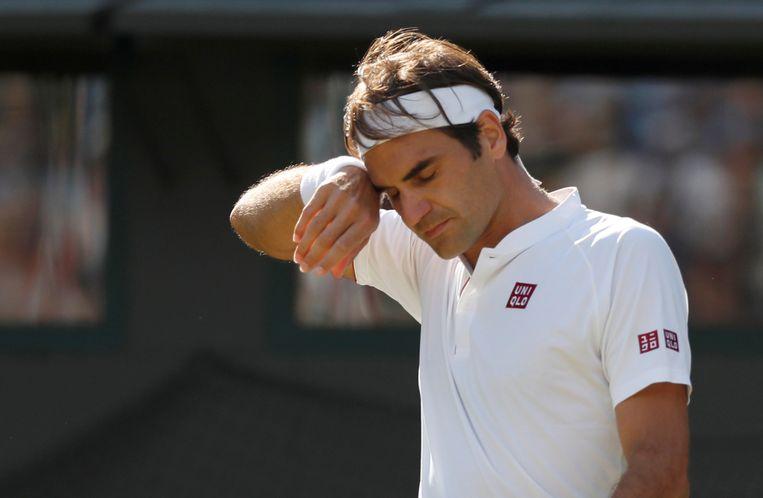 Voor Roger Federer eindigt Wimbledon 2018 bij de kwartfinalewedstrijd tegen KevinAnderson. Beeld REUTERS