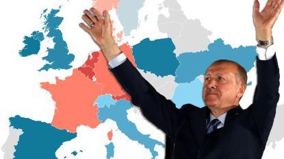 Nergens in Europa zo veel stemmen voor Erdogan als in België
