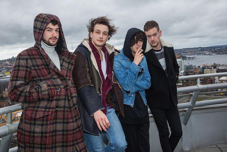 Van links naar rechts: Ross MacDonald, George Daniel, Matthew Healy en Adam Hann. Beeld Getty Images