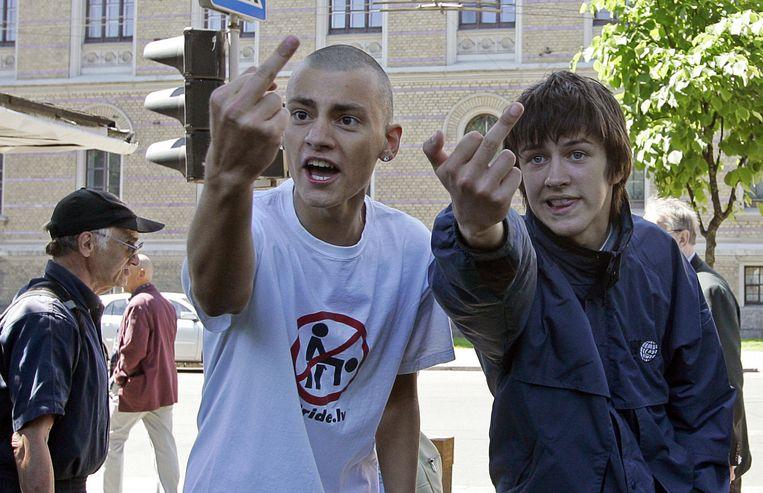 Letse jongens zijn niet gediend van de Gay Pride in Riga, 2007 Beeld anp