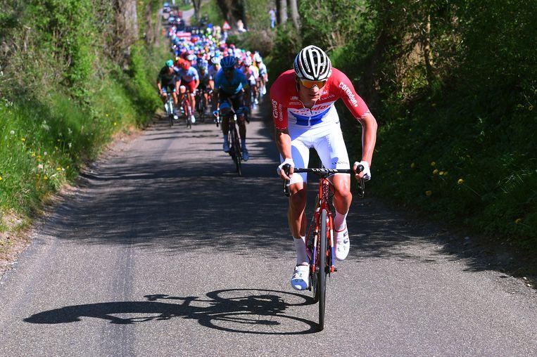 Mathieu van der Poel tijdens de Amstel Gold Race. Beeld Getty Images